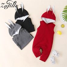 casaco infantil bebes girl snow clothes winter rompers hoodies roupa kids clothing one piece baby girls boys love pink suits ZAFILLE Cotton Baby Romper One Piece Newborn Infant Baby Boy Clothes Hooded Girls Clothing Solid Kids Clothes Sleeveless Rompers