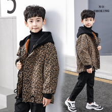 Boys Girls Windbreaker Winter leopard print Thickened Warm Jacket 2019 New Children's Hooded Denim Coat For  6 8 10 12 14 Years цена 2017