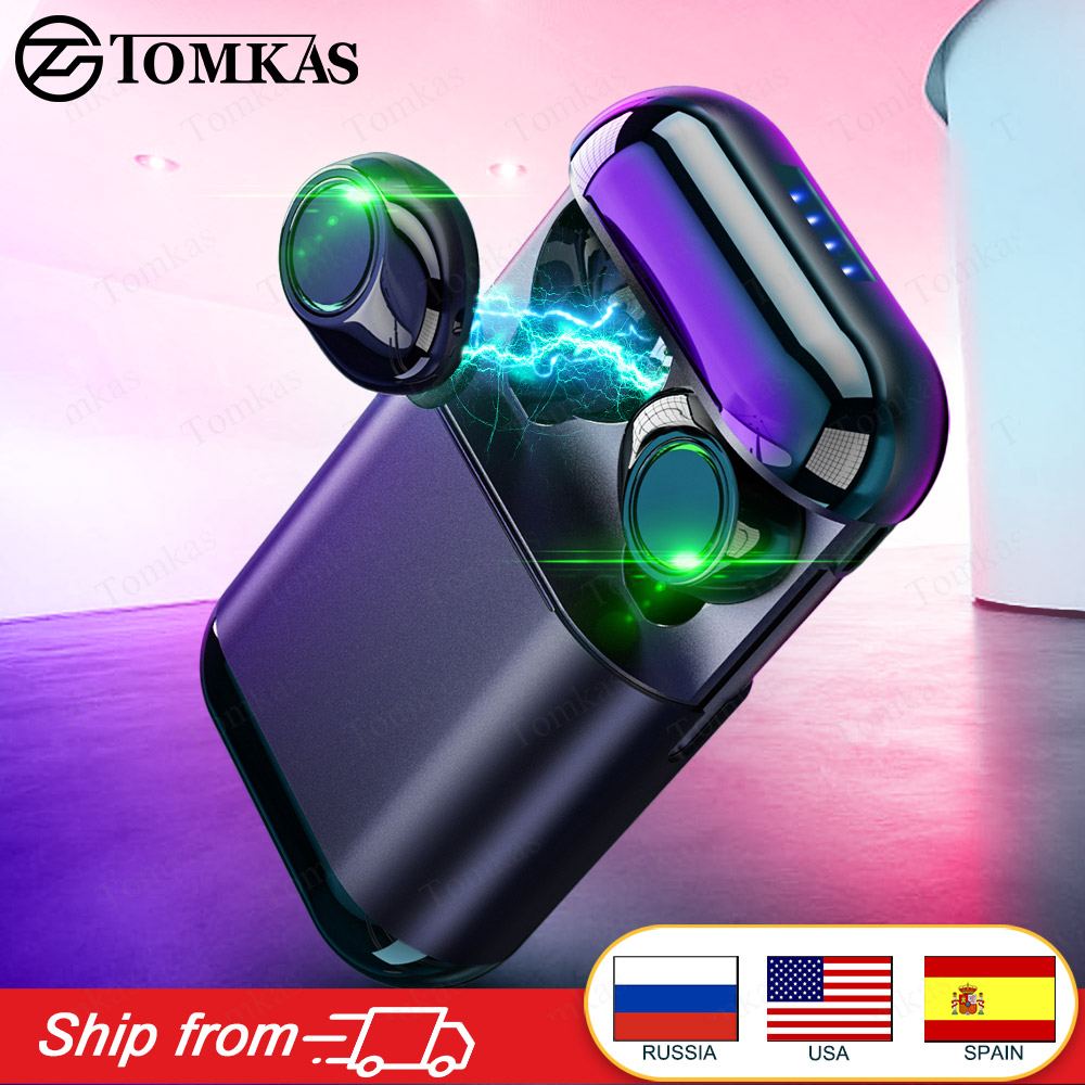 TOMKAS Earphones TWS Wireless Headphones Sport Earbuds 4D Stereo Dual-Mic With Charging Box True Wireless Bluetooth Headset Tws
