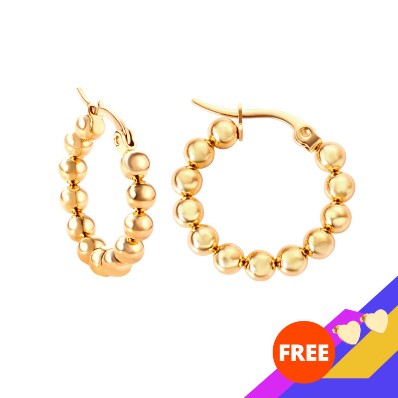 LUXUSTEEL Hyperbole Beaded Hoop Earrings Newest Gold/Silver Color Round Circle Ear Earrings Stainless Steel Accessories Gift