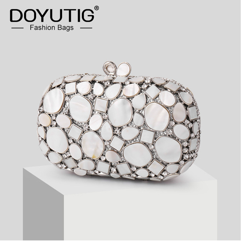 DOYUTIG Summer Fresh Style Women\'s Irregular Natural Shell Clutches Bags Fashion Wedding Party Day Clutches Evening Bags A263