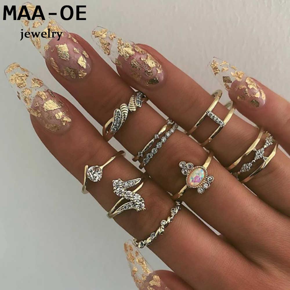 Женский комплект колец в стиле бохо, винтажные золотистые Регулируемые кольца с кристаллами и короной из опала, свадебный подарок на день Святого Валентина