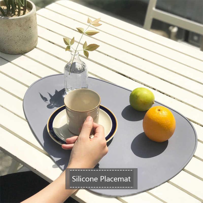 Bayi Piring Makan Pad Anak Sederhana Silikon Tatakan Oval Berbentuk Rumah Isolasi Placemats Bpa Gratis Tahan Air Tableware Mat