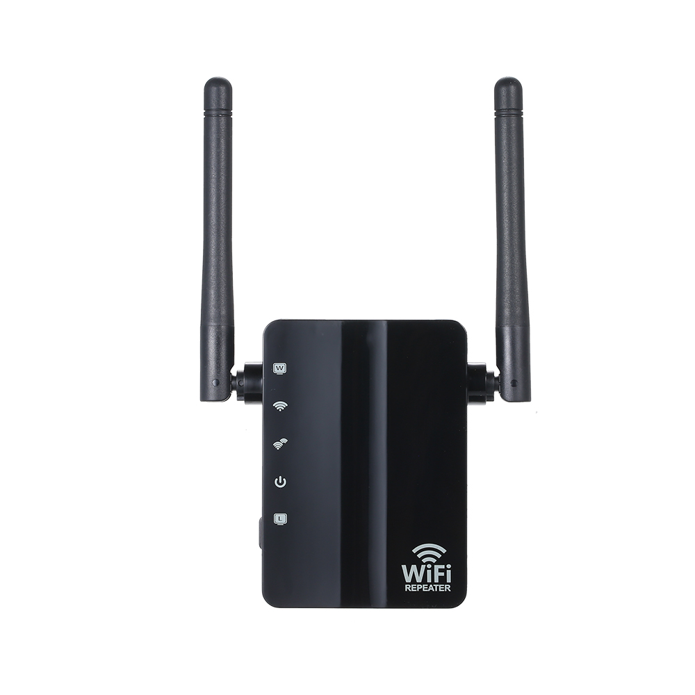 WiFi Repeater Wireless 300Mbps Router  Mode WiFi Extender 2.4G Wireless Repeater (Black)