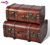 VidaXL Wooden Treasure Chest 2 Pcs Vintage Brown Wooden Trunk Plywood Home Storage Organization V3