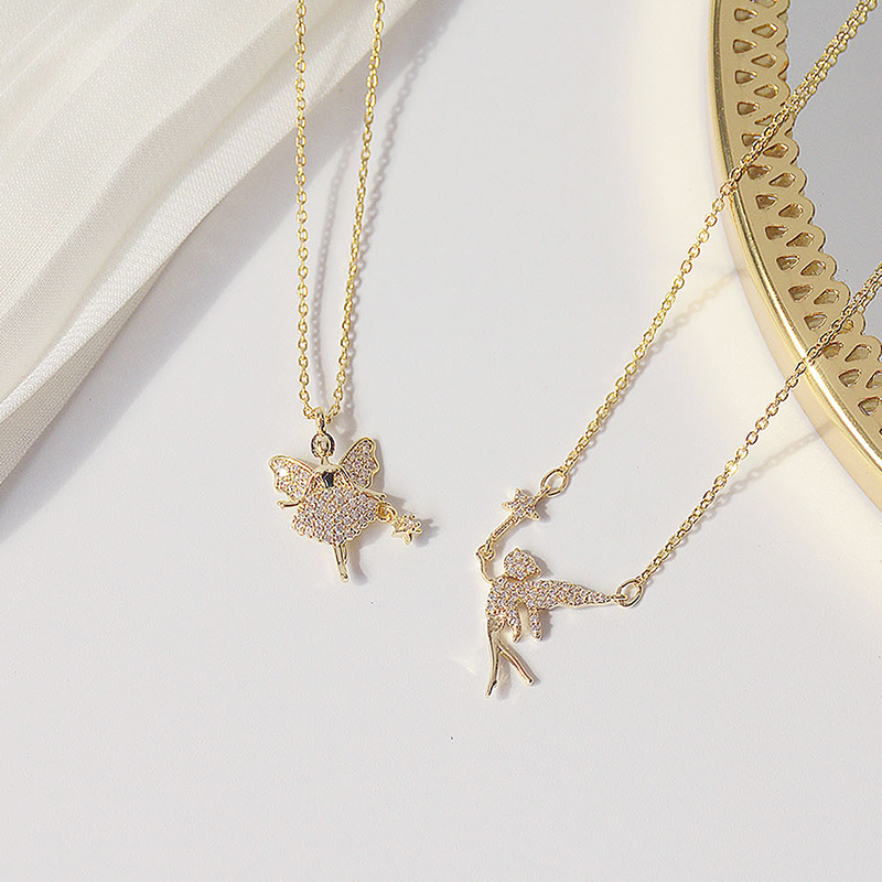 Charm 14K Real Gold Fairy Magic Wand Women Necklace Pave Inlaid CZ Temperament Short Kolye Feminia Clavicle Colar Accessories