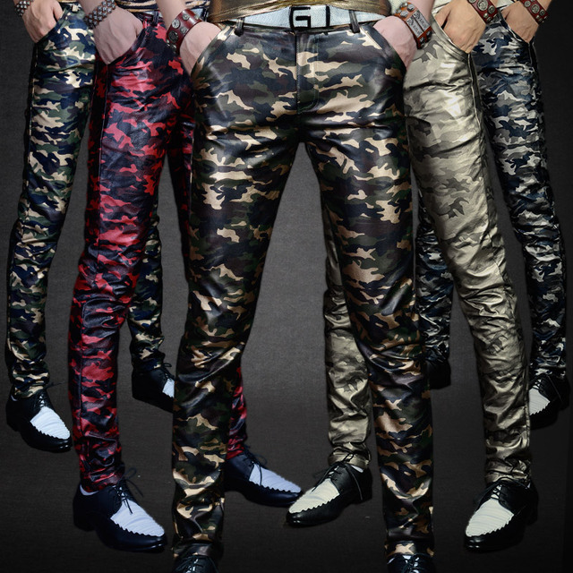 Men 's Leather Trousers Trousers Slim Pants Autumn New Camouflage PU Leather Pants Military Youth Men Pants Casual Shiny Pants 2