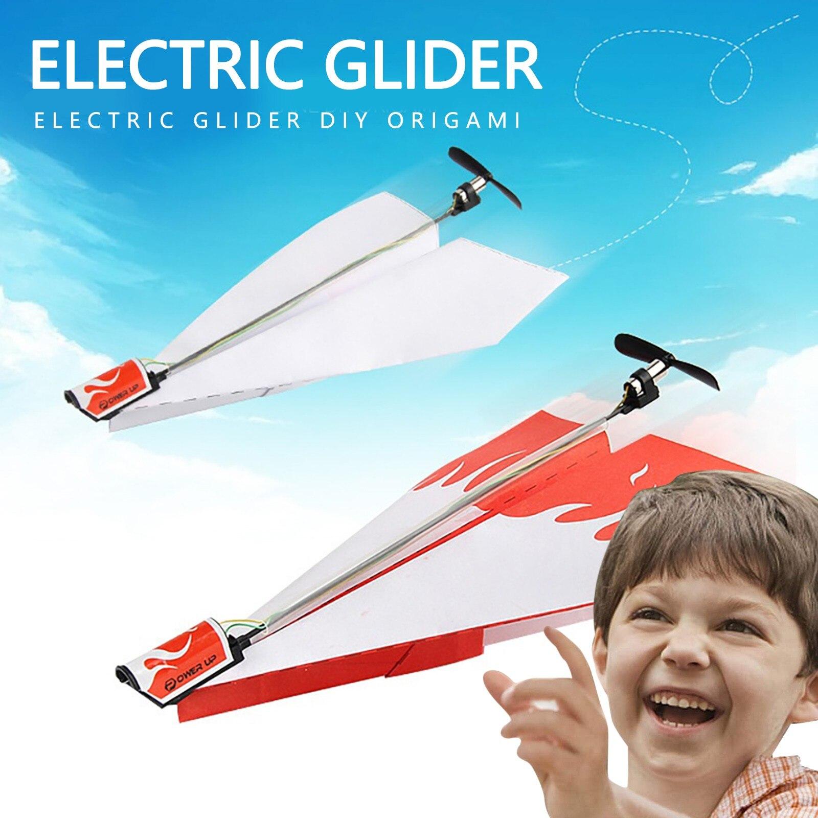 Diy hecho a mano eléctrica Motor de avión de papel plegable modelo al aire libre de los niños juguetes educativos juguetes tecnológicos Avión de papel Simple