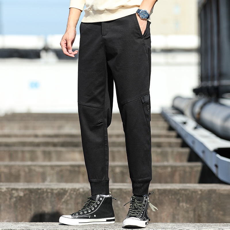 Men'S Wear Autumn New Style Loose Casual Men's Trousers Black Pants Men's Beam Leg Bib Overall Men's 39503