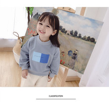 New autumn Korean style personalized casual square print sweatshirt for girls