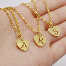 Korean Fashion A-Z Letter 26pcs Initial Choker Necklace Simple Carved Heart Pendant Thin Long Chain Necklace Women Birthday Gift(China)