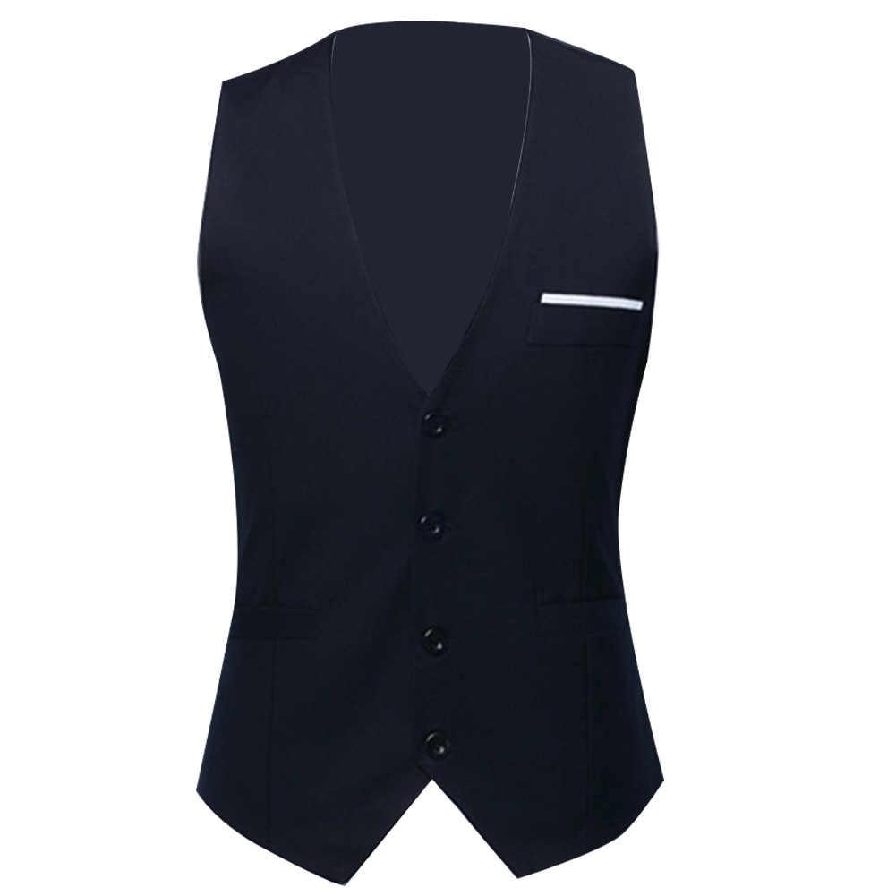Mężczyźni formalne kamizelki strój kamizelka Slim trzy przyciski poliester + elastan kamizelka mężczyźni dorywczo bez rękawów brytyjski jesienny garnitur kamizelki