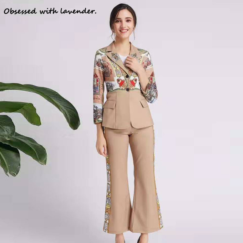 Obsessed With Lavender. New Pants+long Sleeve Suit Fall/winter Leisure Bell Bottoms Khaki Button Lapels For Women