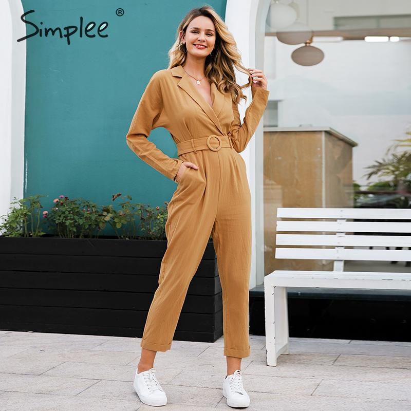 Simplee V-neck Cotton Linen Women Jumpsuit Romper Elegant Work Wear Sash Belt Female Jumpsuit Long Sleeve Office Ladies Overalls