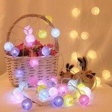 Фея 4 см хлопковые шары гирлянды 1,5 м 3 м 4,5 м 10 м светодиодная гирлянда огни Рождественский фонарь наружное садовое свадебное украшение IQ