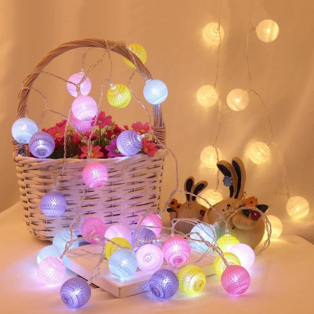 Fairy 4cm Cotton Balls String Lights 1.5m 3m 4.5m 10m Led Garland Lights Christmas Lantern Outdoor Garden Wedding Decoration IQ