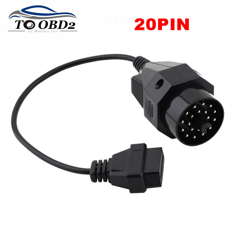 OBD1 <font><b>OBD2</b></font> Diagnostic Adapter For <font><b>BMW</b></font> 20Pin to <font><b>OBD2</b></font> 16Pin Female Connector Full <font><b>Pin</b></font> Fits <font><b>BMW</b></font> <font><b>20</b></font> <font><b>Pin</b></font> to OBDII 16 <font><b>Pin</b></font> FREE SHIPPING image
