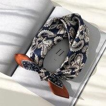 100% Silk Paisley Print Hair Scarf For Women Small Neckerchief Bandana Head Bag Scarfs Female 53*53cm Square Neck Scarves Ladies paisley print frayed trim scarf
