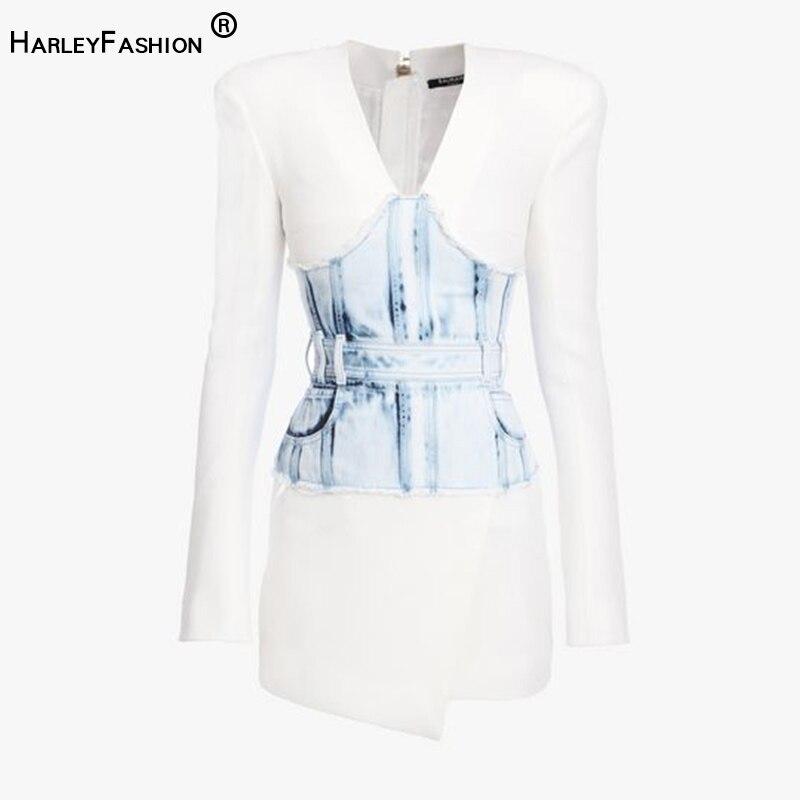 HarleyFashion Newest Arrval Sexy V-neck Luxurious Design Slim Straight Mini Dresses Denim Patchwork Elegant Fashion Style Dress