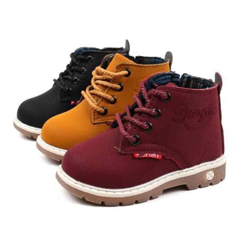 Fashion Children Ankle boots Autumn Winter Boys Girls shoes PU leather Casual Outdoor boots Kids Baby Flat shoes
