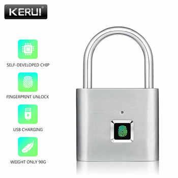 KERUI USB Rechargeable Anti-Theft Security Keyless Electronic Fingerprint Smart Lock Padlock Home Door Bag Luggage Case Lock - DISCOUNT ITEM  37% OFF All Category