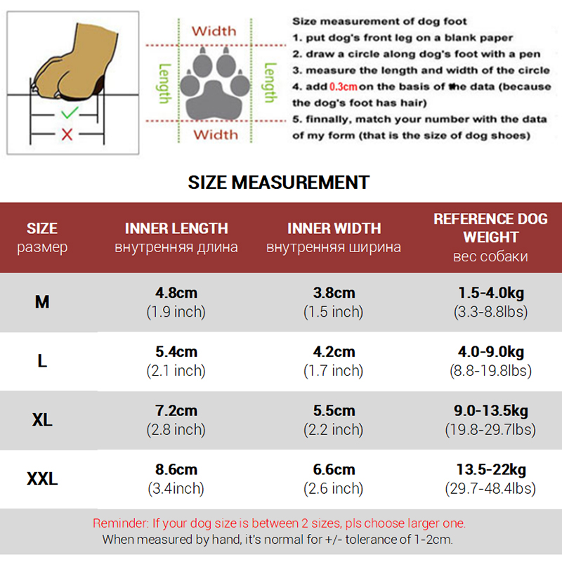 dog boots size