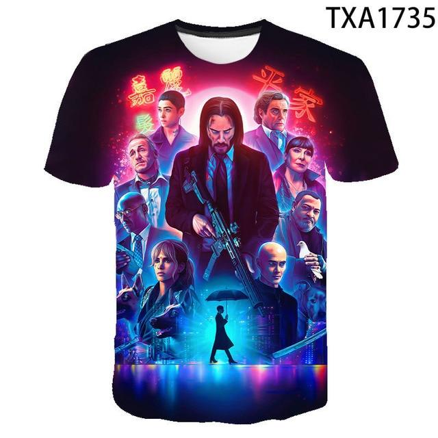 2020 New Summer Movie John Wick  3D T shirt Men Women Children Fashion Streetwear Boy Girl Kids Printed T-shirt Cool Tops Tee 3