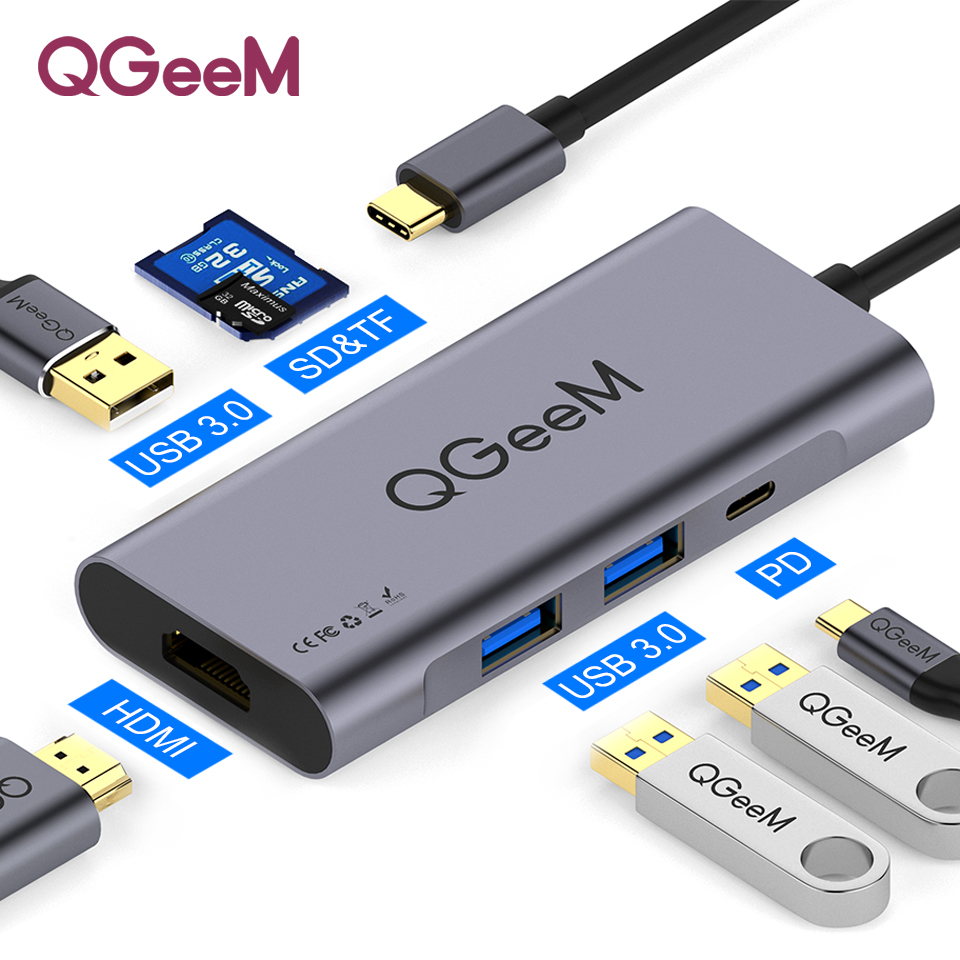 QGeeM 7in1 USB C Hub Huawei P20 Mate 20 Pro Type C USB Hub USB-C To 3.0Hub HDMI Card Reader Thunderbolt3 Adapter For MacBook Pro