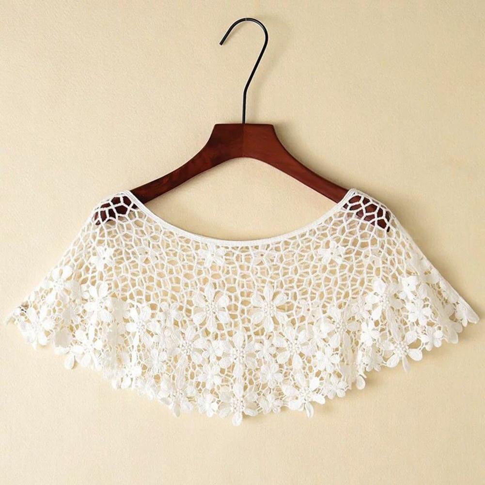 Women Vintage Crochet Knit Cape Lace Short Hollow Out Shawls Shrug Poncho TH36