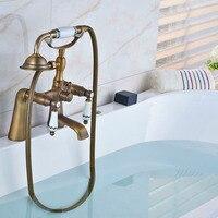 Antik bronz küvet musluk pirinç banyo duş musluk duş başlığı sprey güverte üstü 2 kolu sıcak ve soğuk su musluk bataryası