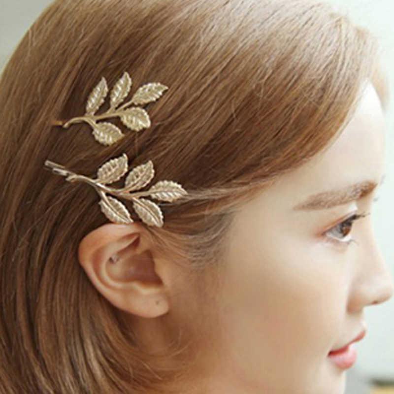 1PC Baru Mulia Temperamen Manis Fashion Vintage Cabang Zaitun Daun Jepit Rambut Pengantin Yang Indah Sisi Klip