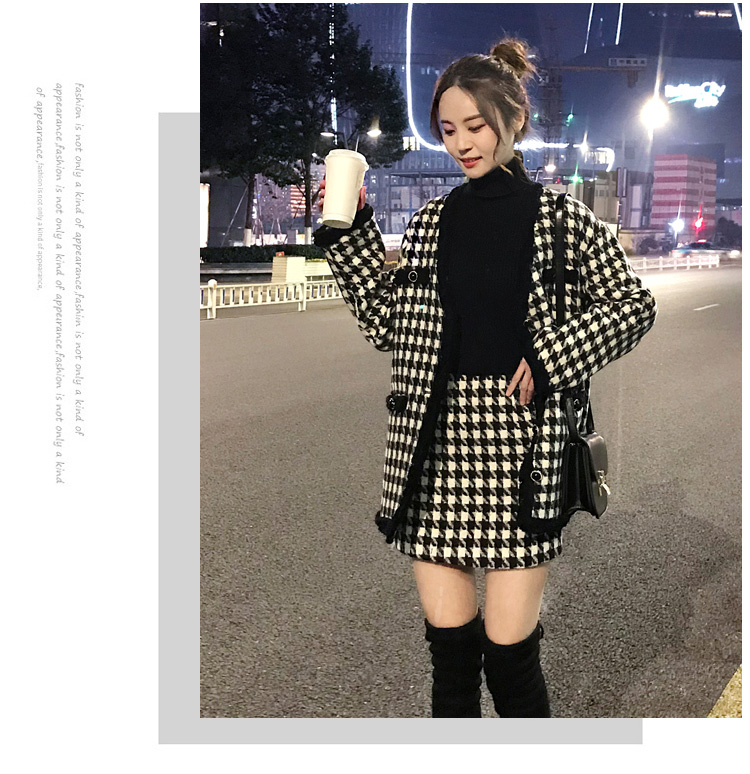H00ccfaba9b7f482c9cdbd616b7109258C - Houndstooth Vintage Two Piece Sets Outfits Women Autumn Cardigan Tops And Mini Skirt Suits Elegant Ladies Fashion 2 Piece Sets