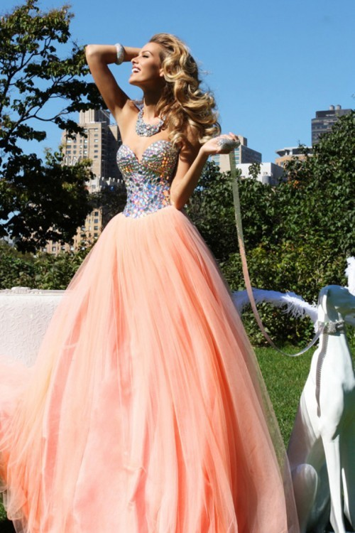Trendy Water Melon Sweetheart Rhinestones Beaded Prom Women Formal Gown Vestido De Festa Longo 2018 Mother Of The Bride Dresses