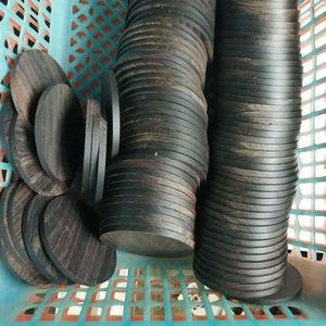 Image 1 - 5pcs lot Africano Ebano rotondo fette di pila di legno maniglia parti di artigianato in legno