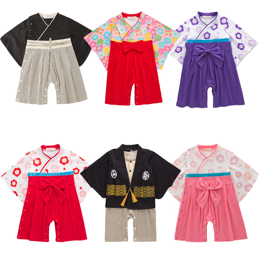 Newborn Baby Girls Japanese Style Kimono Pajamas Full Sleeve Infant Boys Yukata With Bow Tie Loose Haori Harajuku Clothing Set