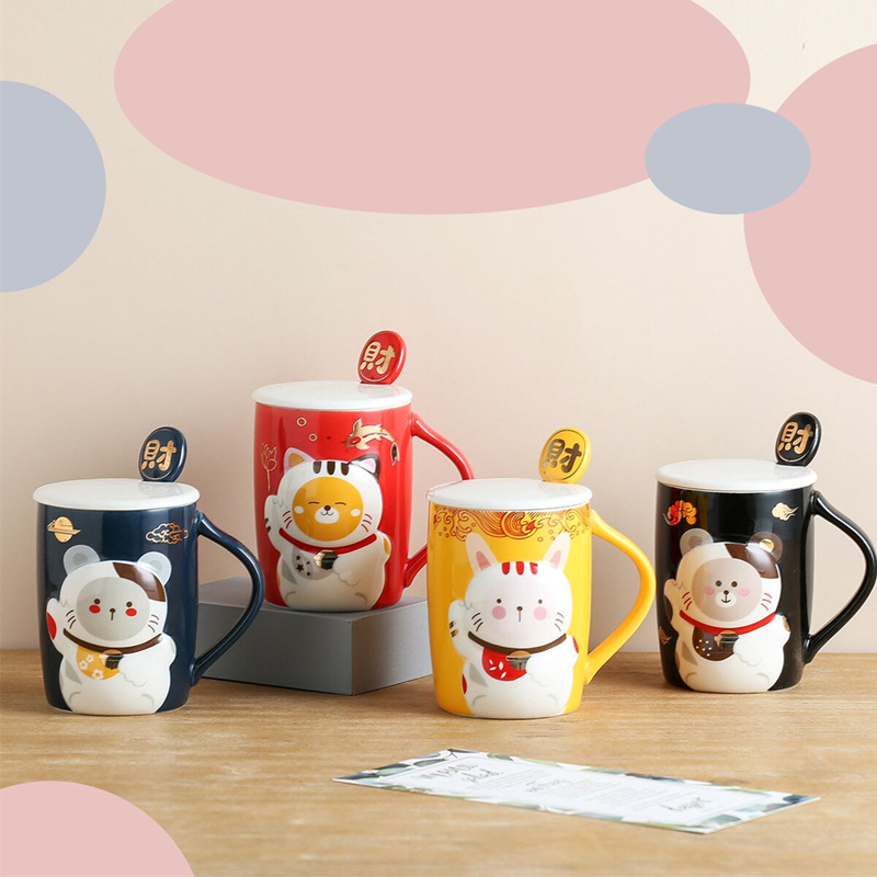 Japanese Relief <font><b>Lucky</b></font> <font><b>Cat</b></font> Ceramic <font><b>Cup</b></font> with Lid Spoon High Temperature Resistant Cartoon Milk Coffee Tea <font><b>Cup</b></font> for Children Couples image