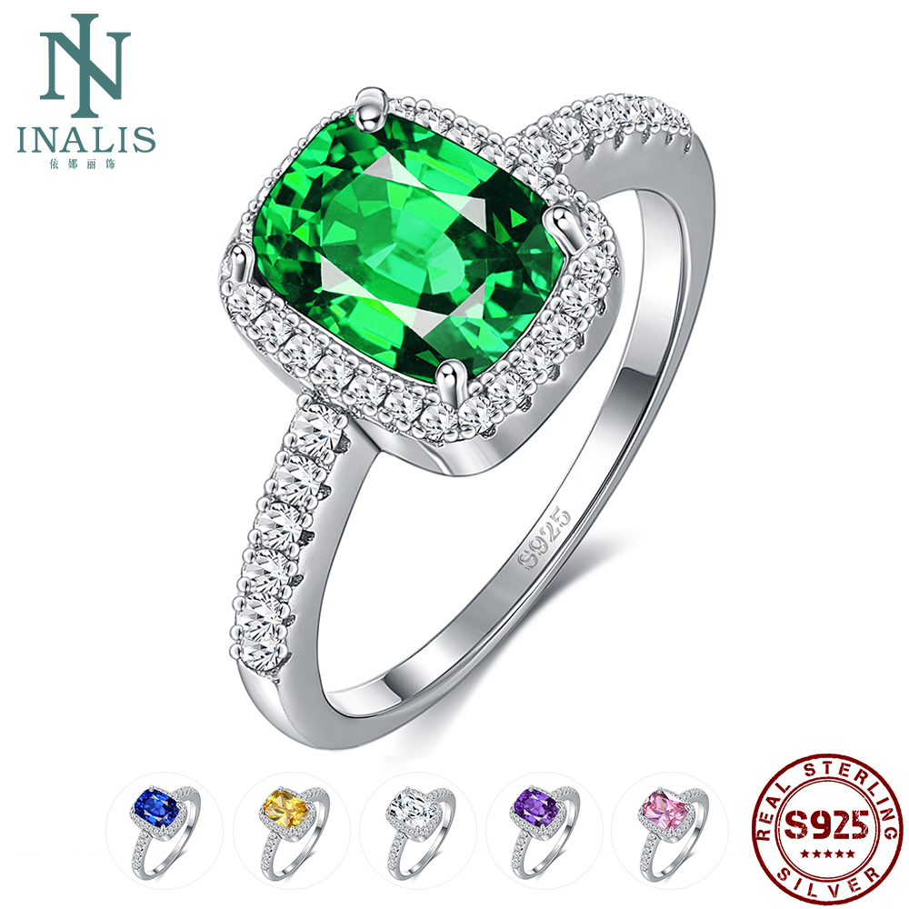 INALIS 6 Colors <font><b>Real</b></font> Sterling Silver <font><b>925</b></font> Jewelry Emerald Gemstone <font><b>Rings</b></font> <font><b>For</b></font> <font><b>Women</b></font> New Fashion Wedding Party <font><b>Ring</b></font> With 5A Zircon image