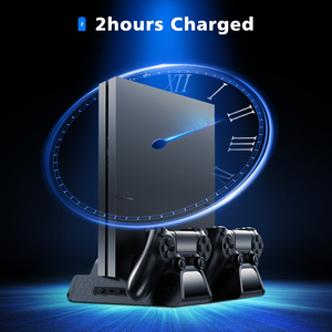 Image 4 - OIVO PS4/PS4 Slim/PS4 Pro Vertical Cooling Stand Dual Controller Station Chargers Game storages LED Fan For SONY Playstation 4