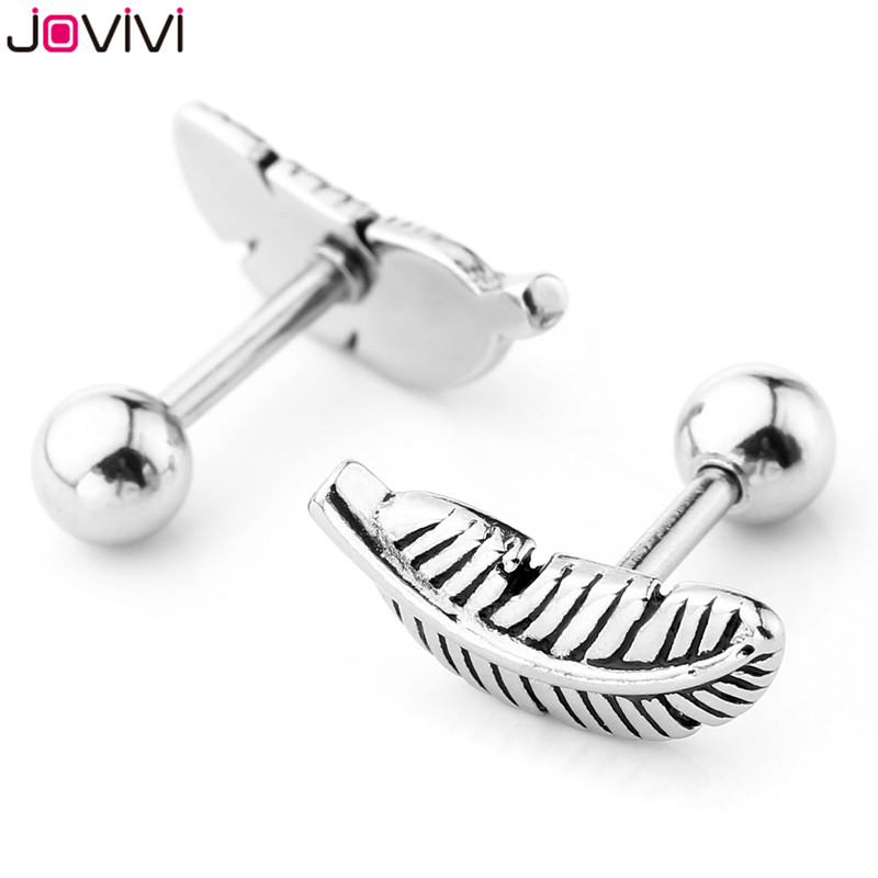 JOVIVI 8pcs Leaves Heart Ear Stud Stainless Steel Barbell Cartilage Tragus Helix Stud Earrings 16G 1/4″ Bar Ear Piercing Jewelry