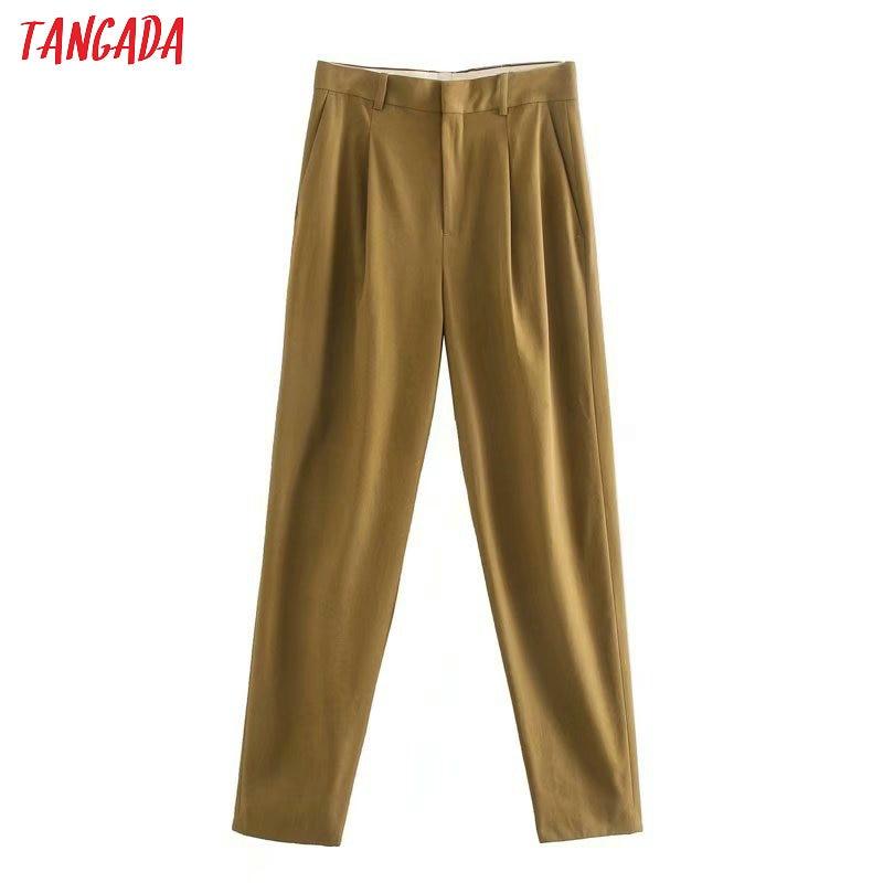 Tangada Fashion Women Solid Suit Pants Trousers Zipper Pockets Buttons Office Lady Pants Pantalon 5Z181