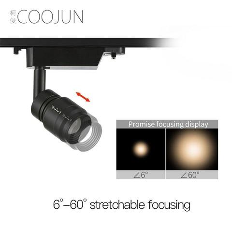 coojun focalizando a iluminacao conduzida interna da trilha 7w 4000k ra93 93 alta cri 240v