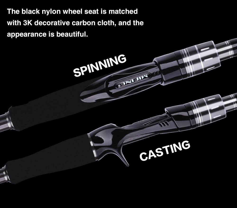 Καλάμι ψαρέματος carbon spinning casting 1. 8m 2. 1m 2. 4m 2. 7m 3. 0m msow