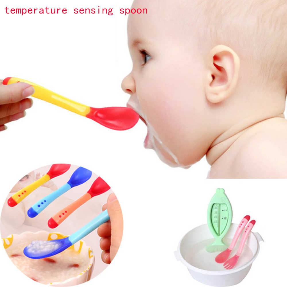 Nuevo Bebé suave silicona cuchara Color caramelo temperatura detección cuchara niños alimentos bebé herramientas de alimentación