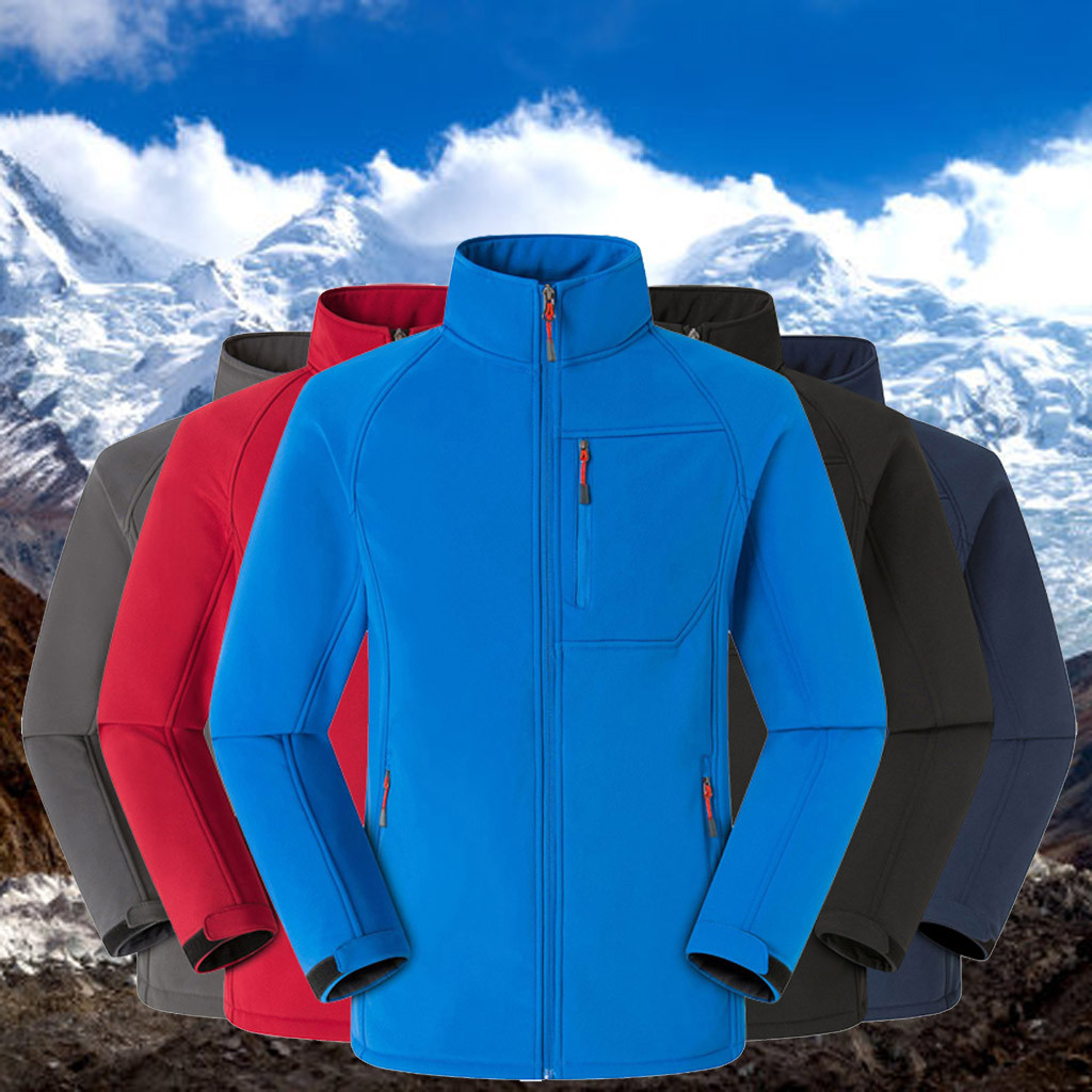 Couple Warm Solid Zipper Stand Collar Long Sleeve Sport Outdoor Coat Outwear Winter Windproof Warm Jacket