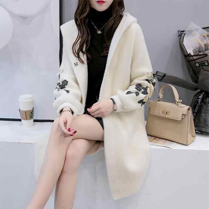 Новинка 2019, Женская Длинная Верхняя одежда, пальто из искусственного меха, Осень-зима, с шапкой, с вышивкой, теплый однобортный