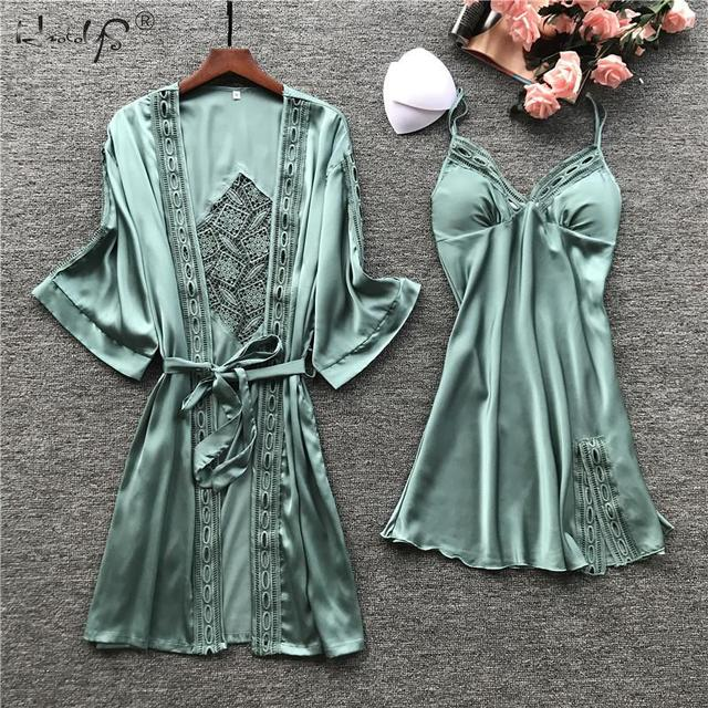 Sexy Lace Robe Sets Women Silk Satin Robe Loungewear 2PC Sleepwear Set Kimono Robe Bathrobe Nightgown Pajama Dress 2 Piece Suit