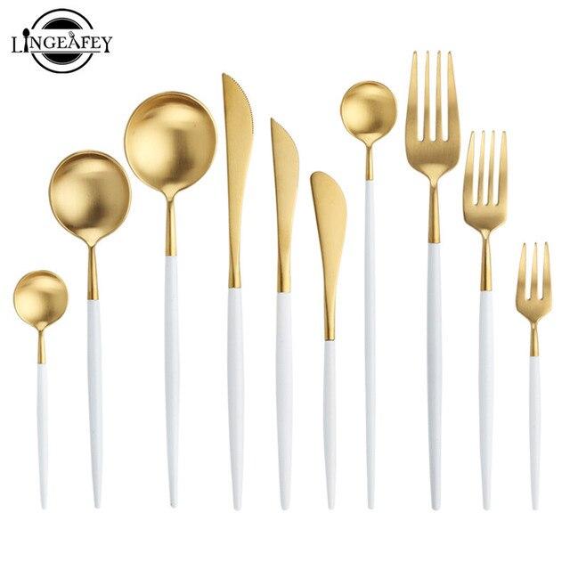 """לבן זהב סט סכו""""ם מערבי 18/10 נירוסטה כלי שולחן בית כף מזלג סכין מקלות אכילה ערכת כלי אוכל סטי כלי שולחן"""