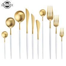 Biały zestaw złotych sztućców zachodniej 18/10 ze stalowa zastawa stołowa domu łyżka widelec nóż pałeczki zestaw zestawy obiadowe zastawa stołowa