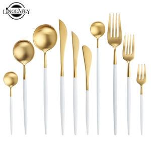 Image 1 - Juego de cubiertos de oro blanco, vajilla occidental de acero inoxidable 18/10, juego de cuchara, tenedor y cuchillo para el hogar, vajilla de palillos