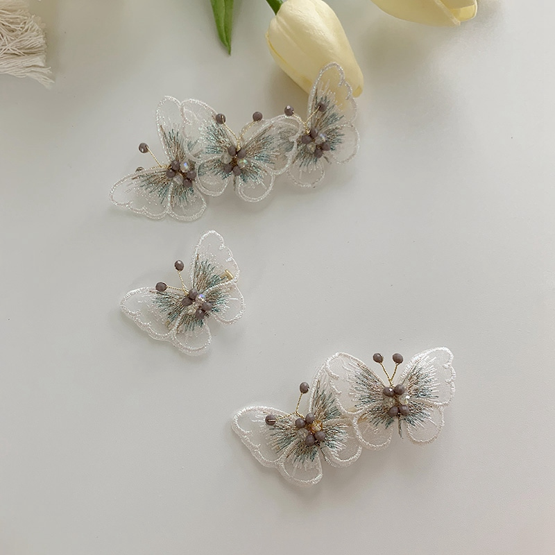 MENGJIQIAO New Handmade Gauze Butterfly Hairpins Elegant Hair Clips For Women Girls Fashion Holiday Hair Accessories
